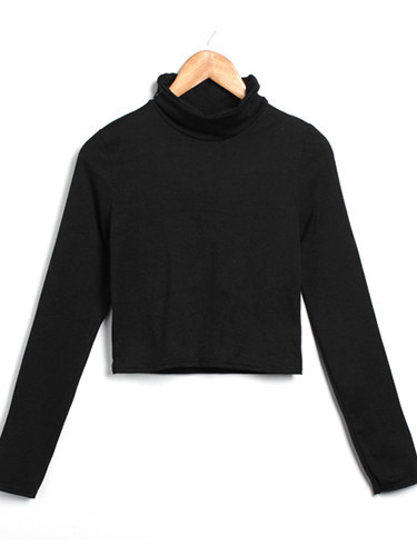 Roll Neck Long Sleeves Crop Top | Outfit Made