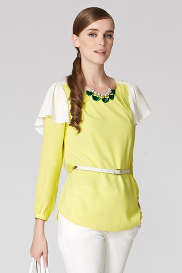 Elegant Chiffon Shirt With Flouncing [FDBI00439]- US$ 65.99 - PersunMall.com