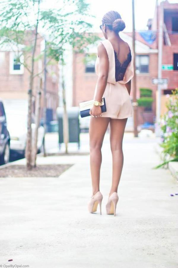 dress short dress light color drss blouse shirt jumper lace pink romper jumpsuit summer peach class open back short heels high heels short romper pants underwear backless