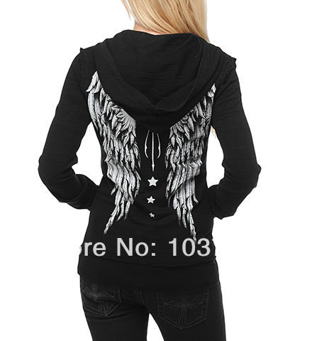 2014 Free shipping ED HARDY women fashion suits. Sport  Fleece  Wing hoodies Sweater.-in Hoodies & Sweatshirts from Apparel & Accessories on Aliexpress.com
