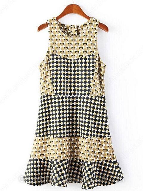 Multicolor Round Neck Sleeveless Plaid Dress - HandpickLook.com