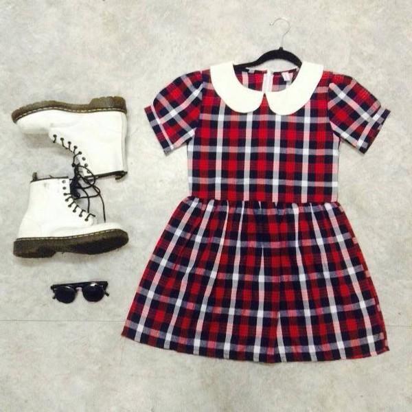 dress red white black plaid shoes rubber boots white boots black sunglasses sunglasses pleated dress preppy boots dc martens