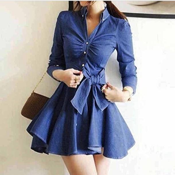 dress peplum long sleeves long sleeve dress blue dress denim dress