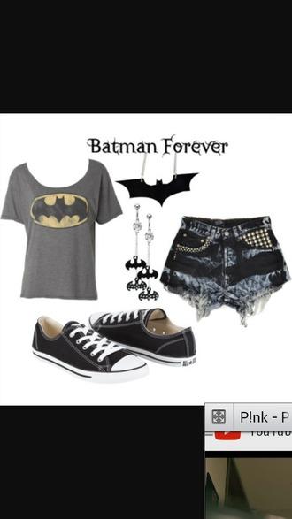 shorts black denim shorts batman t shirt