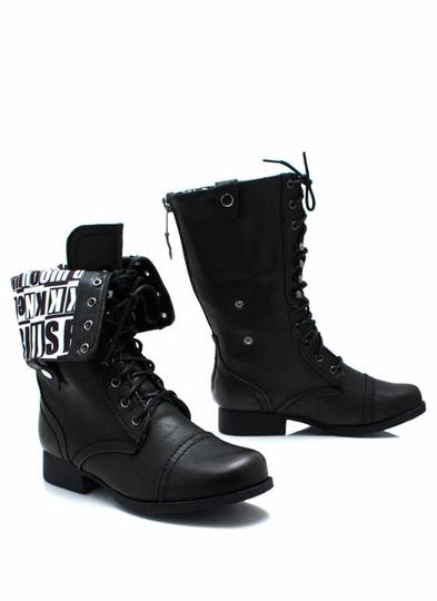 Alphabet-Soup-Combat-Boots BLACK - GoJane.com