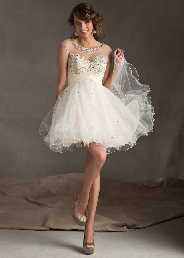 White Sheer Beaded Short Keyhole Back Lace Party Dress [White Mori Lee 9244] - $160.00 : Prom Dresses 2014, Homecoming Dresses 2014