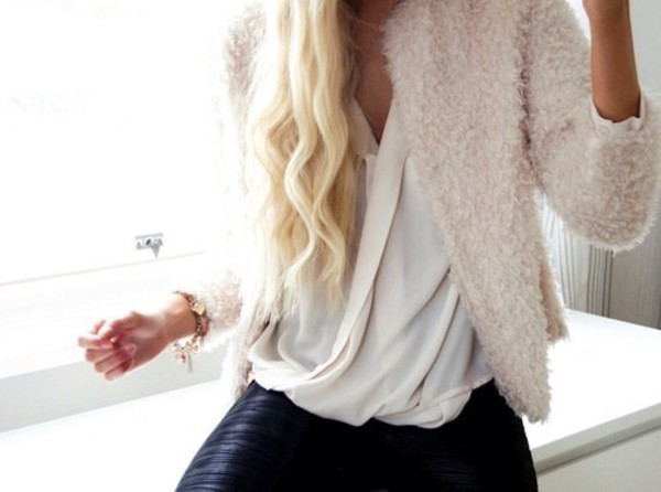 coat white sweet fur blouse jacket cardigan soft fluffy shirt top sheer hipster clothes fashion style girly girl flowy feminine fluffy pink rose blush dusty pink texture
