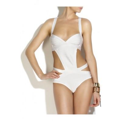 Herve Leger Martine  Side-Cutout Bandage Swimsuit White - SWIM
