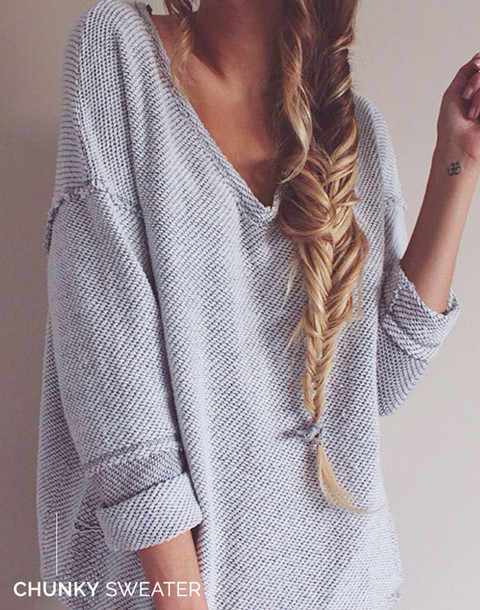 sweater grey shirt oversized sweater knitted sweater grey sweater baggy sweaters boyfriend sweater style fashion chic trendy cute