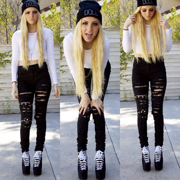 blouse beanie black white jeans shoes doll skinny ripped long sleeves top