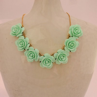 Mint Flower Statement Necklace