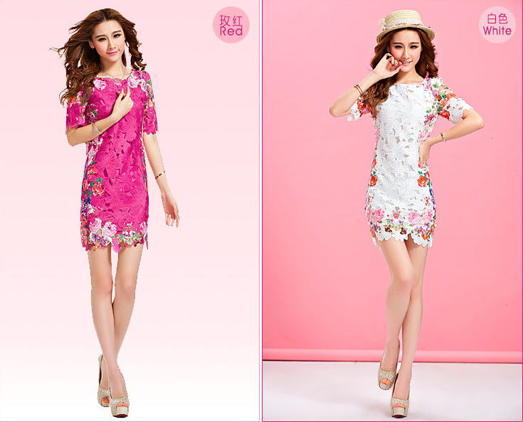 Vintage Women Sexy Lady Exotic Floral Flower Lace Short Sleeve Dress Skirt s 2XL   eBay