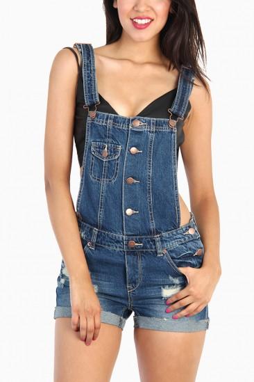 LoveMelrose.com From Harry & Molly | Denim Bib Suspenders Shorts