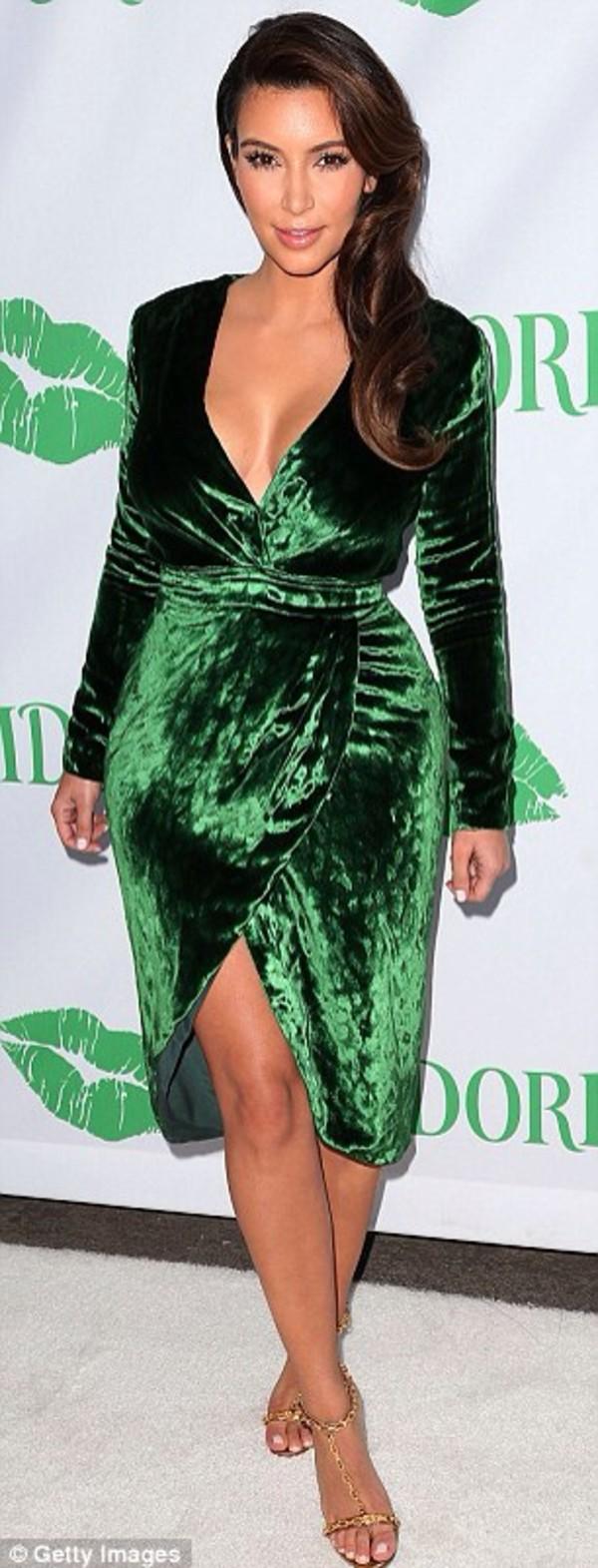 dress kim kardashian green velvet gorgeous keeping up with the kardashians