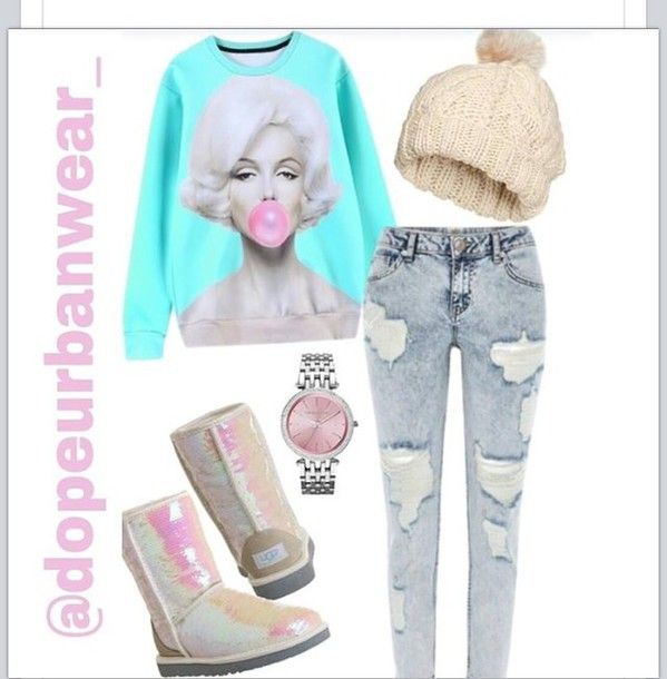 sweater hat jeans