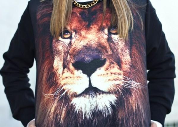 sweater lion black cute fashion