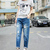 New Western Women's Casual Loose Denim Hole Jeans Ninth Pants Harem Pants