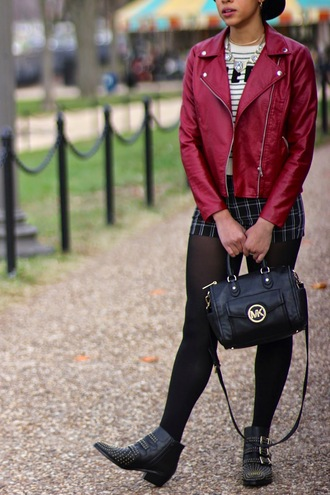 immaturely fashionable blogger shorts perfecto michael kors studded shoes jewels shoes hat bag sweater jacket