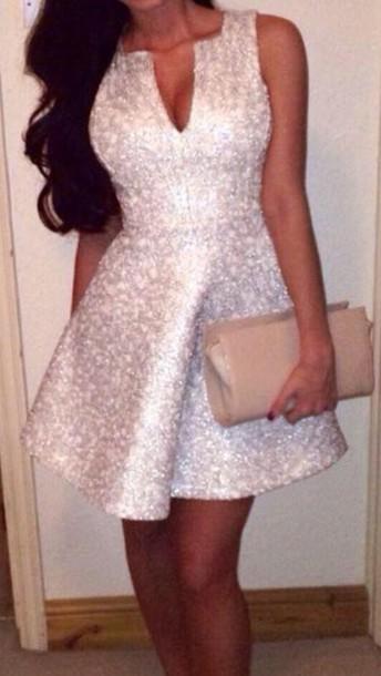 dress silver sequin skater dress