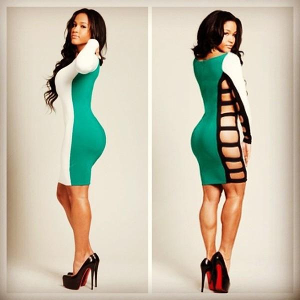 dress aliexpress bodycon cut-out dress sexy colorblock bodycon dress mini dress white green