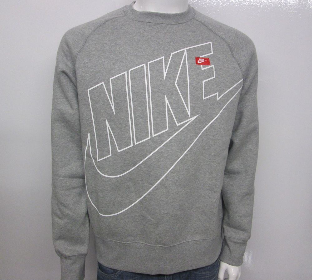 Nike AW77 Fleece Logo Men's Crew Sweater 598703 063 Select Size | eBay