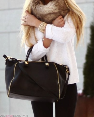 scarf fur bag blouse sweater white white sweater
