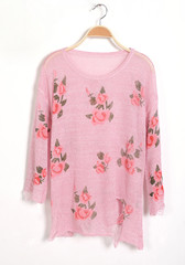Floral Frayed Cuffs Top - Blouse