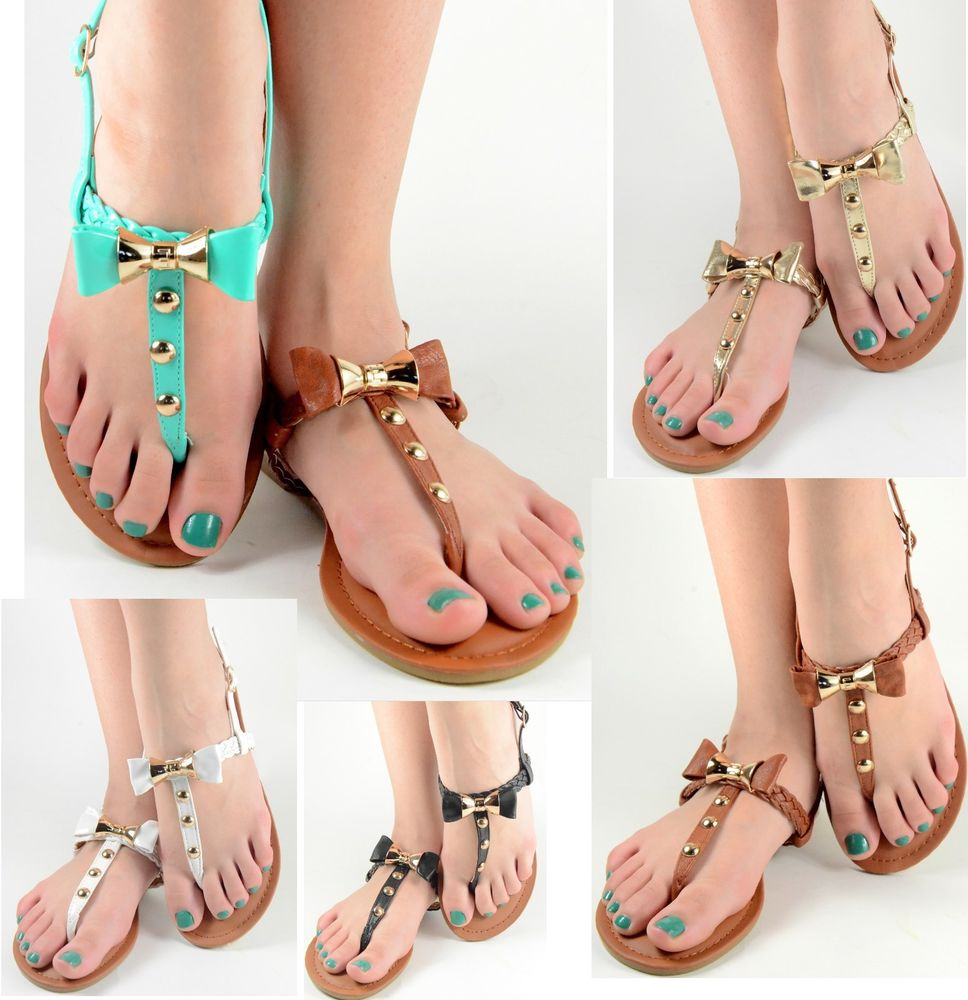 Womens Summer Sandals Bow Design Gladiator T Strap Flat Shoes Teal Black White | eBay