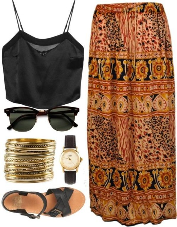shoes summer gold black boho boho dress sunglasses jewels blouse chiffon cute tribal pattern skirt watch sandals black sunglasses crop tops fashion