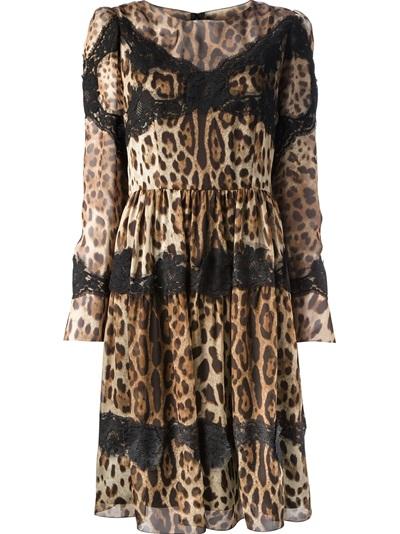Dolce & Gabbana Leopard And Lace Dress - Biedermann En Vogue - Farfetch.com
