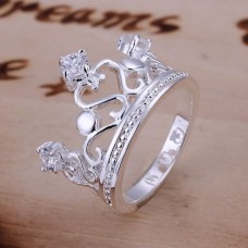 Silver plated ring with a crown (USA Size 8) - 201311