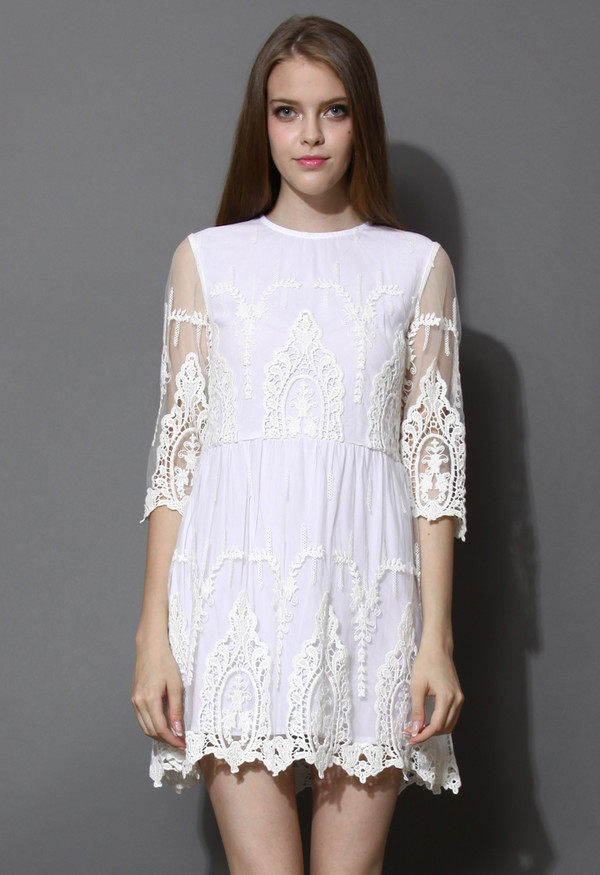 dress in your dreams lace embroidered mesh