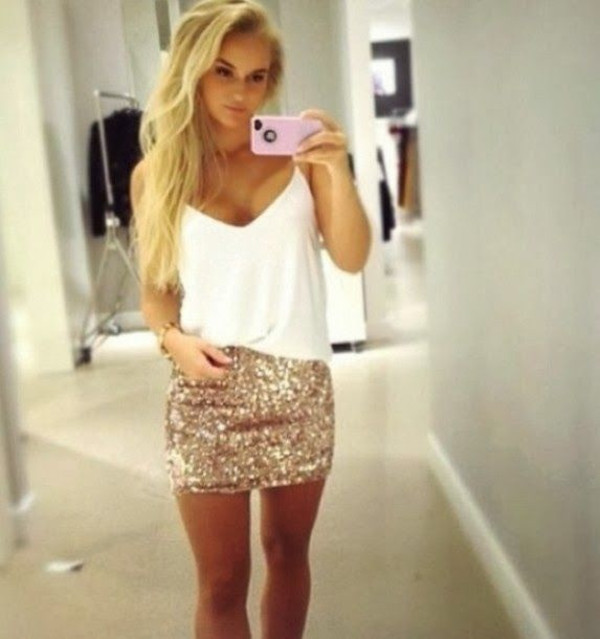 skirt gold sequins new year's eve white blonde hair pretty shirt style