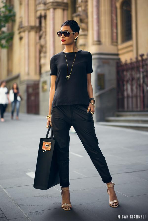 micah gianneli sunglasses jewels t-shirt pants bag shoes