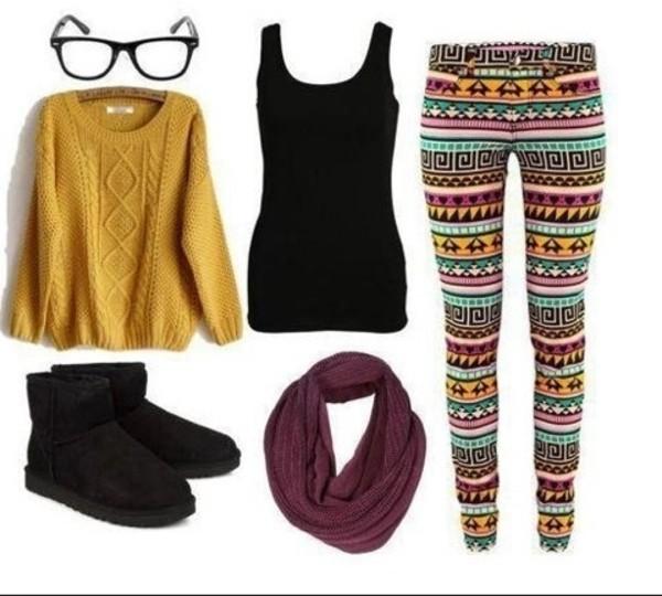 pants sweater shoes top scarf yoga pants leggings tribal pattern aztec