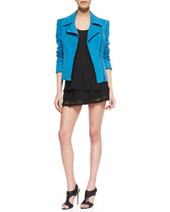 L'Agence Long-Sleeve Moto Jacket, Silk Mesh-Racerback Tank & Mesh-Hem Flutter Shorts