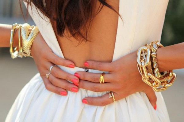 dress open back skater dress gold coral nails ring bracelets fashion girly gold jewelry accessories
