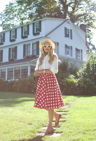 atlantic pacific blogger bag sunglasses scarf red skirt button up white blouse white sunglasses flats straw hat