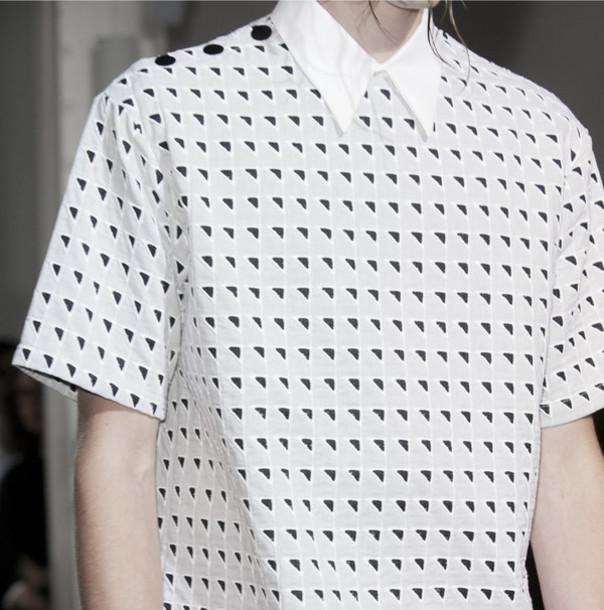 black and white hipster unisex minimalist boyish optical blouse