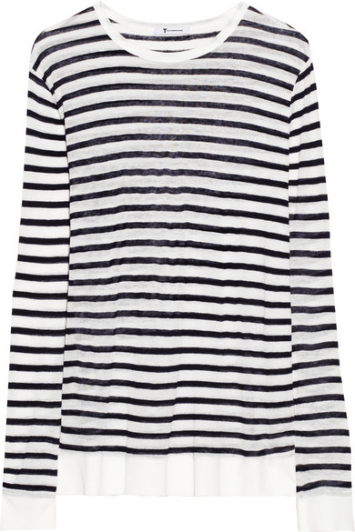 T by Alexander Wang|Striped fine-knit top|NET-A-PORTER.COM