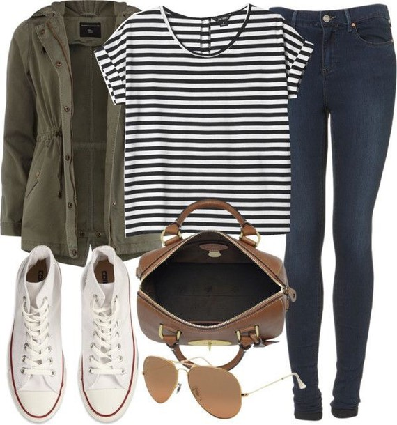 jacket striped shirt blue jeans denim army green jacket