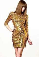Blaque Label Gold Sequin 3/4 Sleeve Dress