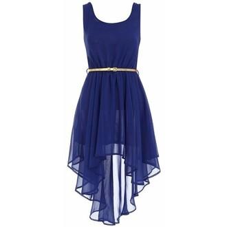 dress cobalt high-low dresses gold belt blue prom dress