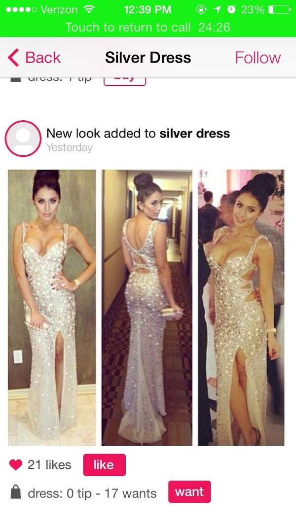 dress silver sequin dress prom dress long prom dress