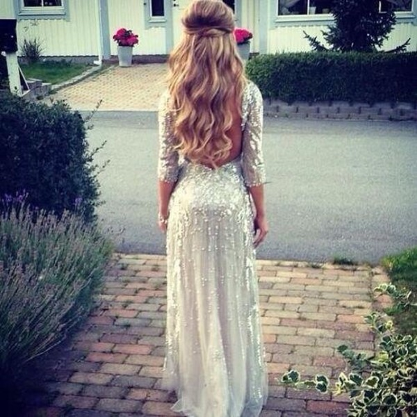 wavy hair silver dress silver backless prom dress three-quarter sleeves white prom dress chiffon dress embellished dress sequin prom dress dress sparkle white long dress long sleeves long prom dress