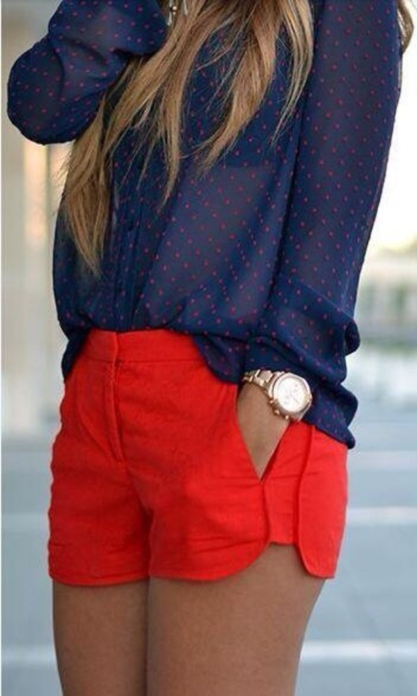 t-shirt pants shorts polka dots button down blue blue top sheer blouse jewels red shorts top red