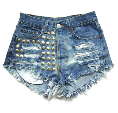 Glam 420 Blue Studded Shorts - Arad Denim