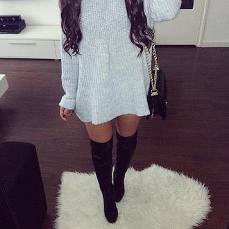 grey dress winter dress black boots knee high boots sweater dress thigh high boots