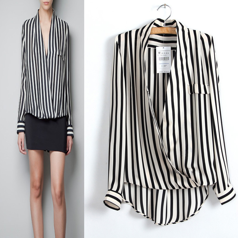 Europe 2013 cross deep V neck sexy vertical stripe long sleeved women blouses brand chiffon shirt S M L  CS007-in Blouses & Shirts from Apparel & Accessories on Aliexpress.com