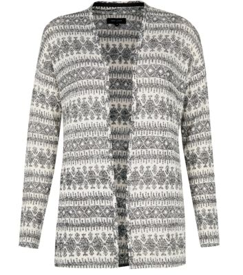 White Ethnic Print Open Front Cardigan